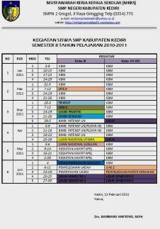 Kalender Kegiatan siswa sm2